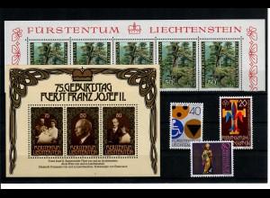 Einige postfrische Marken Liechtenstein