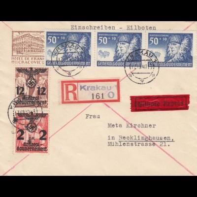 GG: R-Eil Brief Krakau nach Recklinghausen, portogerecht