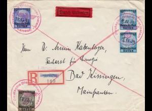 GG: Früher Eilbrief Lancut nach Bad Kissingen, portogerechte MiF, 18.12.39