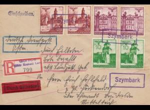 GG: R-Eilbrief Szymbark/Gorlice mit Eil-Landzustellung nach Höckendorf-V-Stempel