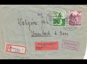 GG: Einschreiben Krakau 7 nach Ursenbach, Interniertenpost, 2x Zensur
