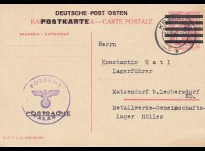 GG: Postsachenkarte Krakau 2 nach Matzendorf, Lagerführer
