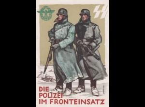 AK Kriegs-WHW 1939/40, Nach Plauitz, Polizei im Fronteinsatz, Tag der Polizei 1942