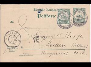 China/Kiautschou: Ganzsache Tsingtau nach Leiden/Holland 1902