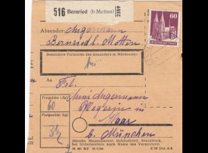 BiZone Paketkarte 1949: Bernried nach Pflegeheim Haar