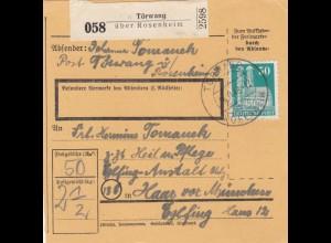 BiZone Paketkarte 1948: Törwang nach Haar, Heil u. Pflege