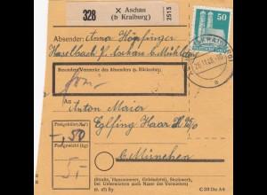 BiZone Paketkarte 1948: Aschau nach Eglfing, München