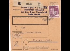 BiZone Paketkarte 1948: Krün nach Haar, Frauenklinik