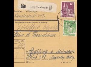 BiZone Paketkarte 1948: Nandlstadt nach Eglfing b. München