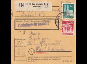 BiZone Paketkarte 1948: Traunstein nach Heil u. Pflegeanstalt Haar b. München