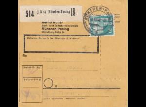 BiZone Paketkarte 1948: München-Pasing n. Haar vor München, Selbstbucher