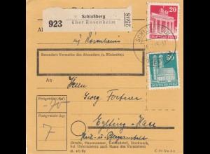 BiZone Paketkarte1948: Schloßberg nach Eglfing, Heil- u. Pflegeanstalt