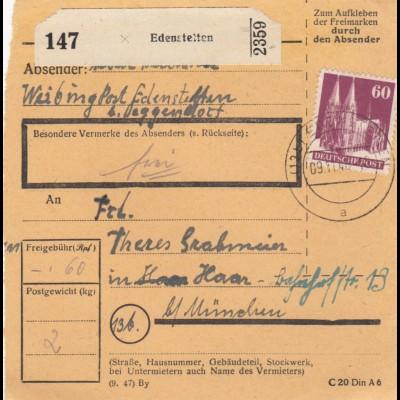 BiZone Paketkarte 1948: Edenstetten nach Haar