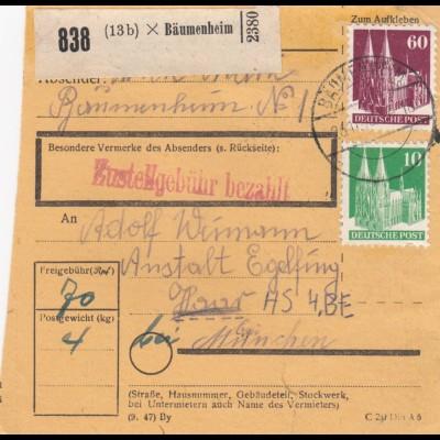 BiZone Paketkarte: 1948 Bäumenheim nach Haar, Ankunftstempel 1937 !!!
