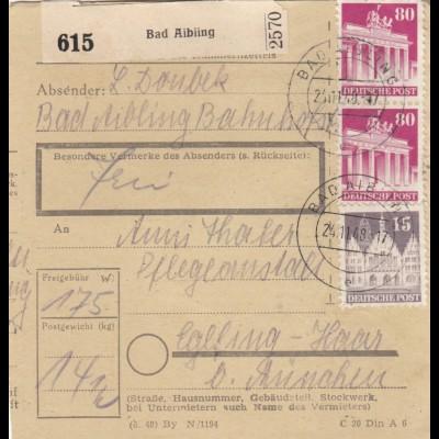 BiZone Paketkarte 1948: Bad Aibling nach Eglfing-Haar b. München, Pflegeanstalt
