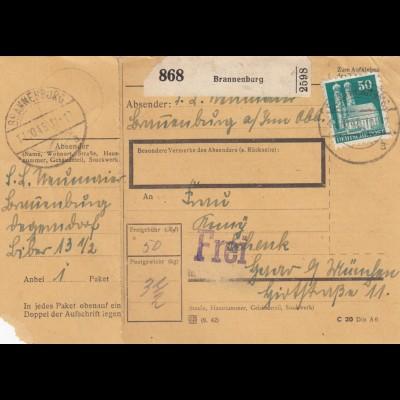 BiZone Paketkarte 1948: Brannenburg nach Haar