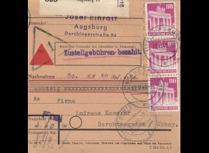 BiZone Paketkarte 1948: Augsburg nach Berchtesgaden, Nachnahme 80,40 RM