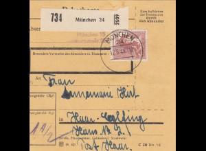 BiZone Paketkarte 1948: München nach Haar-Eglfing
