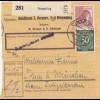 BiZone Paketkarte 1948: Dingolfing nach Haar, Selbstbucherkarte mit Wert