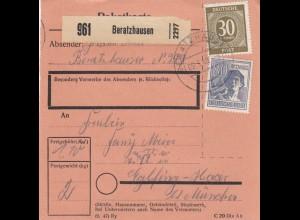 BiZone Paketkarte 1948: Beratzhausen nach Eglfing-Haar