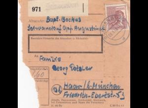 BiZone Paketkarte 1948: Schwandorf nach Haar b. München