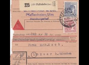 BiZone Paketkarte 1948: Pfaffenhofen nach Haar, Nachnahme 248,30 RM