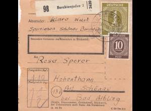 BiZone Paketkarte 18.12.1945: Berchtesgaden nach Hohenthann 20.12.46 !!!