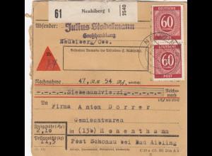 BiZone Paketkarte 1947: Neubiberg nach Hohenthann