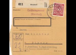 BiZone Paketkarte 1947: Miesbach nach Biberg