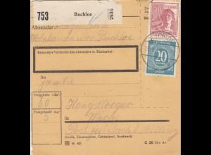 BiZone Paketkarte 1947: Buchloe nach Feilnbach b. Aibling
