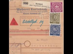 BiZone Paketkarte 1947: Karlshuld nach Beyharting, Selbstbucherkarte mit Wert