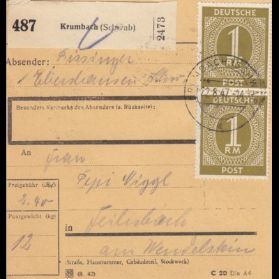 BiZone Paketkarte 1947: Krumbach nach Feilnbach