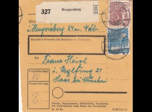 BiZone Paketkarte 1948: Hengersberg nach Haar bei München