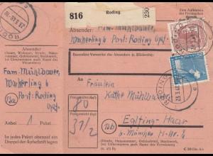 BiZone Paketkarte 1948: Roding nach Eglfing-Haar