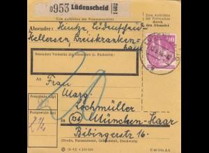BiZone Paketkarte 1948: Lüdenscheid nach München-Haar, Nachgebühr