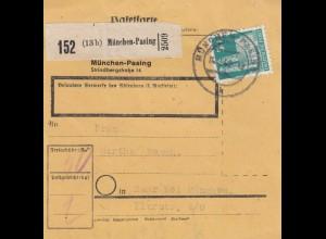 BiZone Paketkarte 1948: München nach Haar, Selbstbucherkarte mit Wert