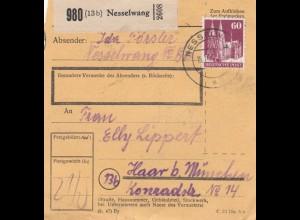BiZone Paketkarte 1948: Nesselwang nach Haar bei München