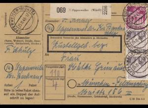BiZone Paketkarte 1948: Oppenweiler nach München-Feldmoching