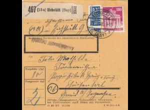 BiZone Paketkarte 1948: Eichstätt nach Louisenthal, Gmund am Tegernsee