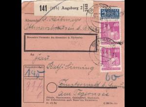 BiZone Paketkarte 1948: Augsburg nach Finsterwald