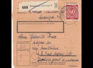 BiZone Paketkarte 1947: Traunstein nach Bad Aibling, Mitglied bayr. Musikbühne