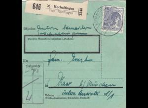 Paketkarte 1948: Hochaltingen/Nördlingen nach Haar b. München, seltenes Formular