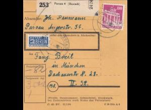 BiZone Paketkarte 1949: Passau nach München, Notopfer Steuermarke