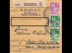 BiZone Paketkarte 1948: Rheinhausen-Hochemmerich nach Haar-München
