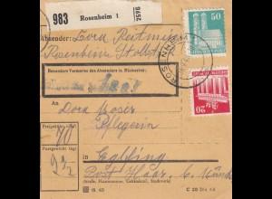 BiZone Paketkarte 1948: Rosenheim nach Eglfing, Pflegerin