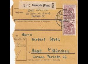 BiZone Paketkarte 1948: Osterode nach Haar, Selbstbucherkarte mit Wert