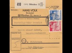 BiZone Paketkarte 1948: Münchennach Putzbrunn, Selbstbucherkarte mit Wert