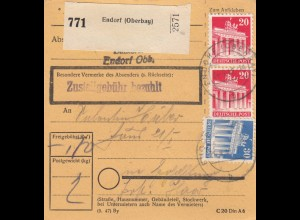 BiZone Paketkarte 1948: Endorf (Oberbay) nach Haar
