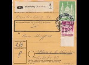 BiZone Paketkarte 1948: Breitenberg (Niederbay) nach Haar b. München