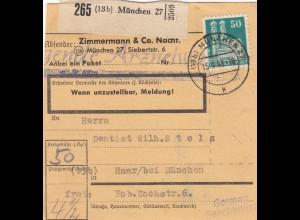 Paketkarte 1948: München nach Haar, Selbstbucherkarte mit Wert - Zimmemann&Co